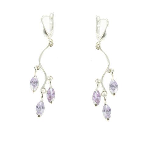 Lueur - boucles d'oreilles argent et oxyde de zirconium violet
