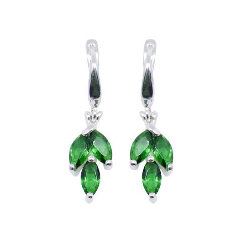 Pétille - boucles d'oreilles argent 925ème et oxyde zirconium vert