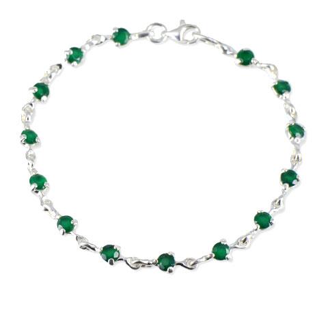 Charme - bracelet argent 925ème et agate verte
