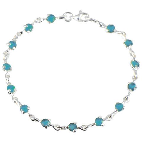 Charme - bracelet argent 925ème et oxyde de zirconium bleu