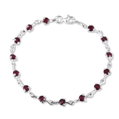 Charme - bracelet argent 925ème et grenat