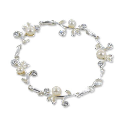 Perle - bracelet argent 925eme, oxydes de zirconium et perles