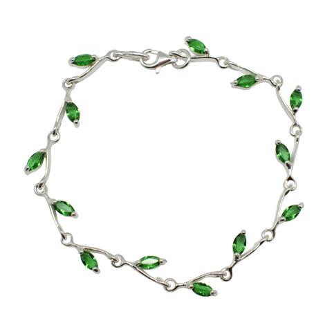 Pétille - bracelet argent 925ème et oxyde de zirconium vert