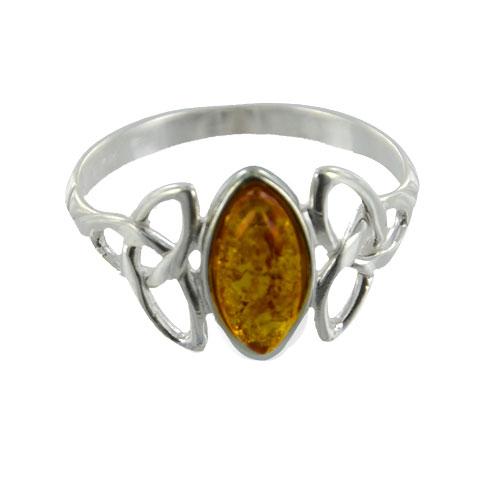Ambre et Celtes - Bague monade argent 925e et ambre