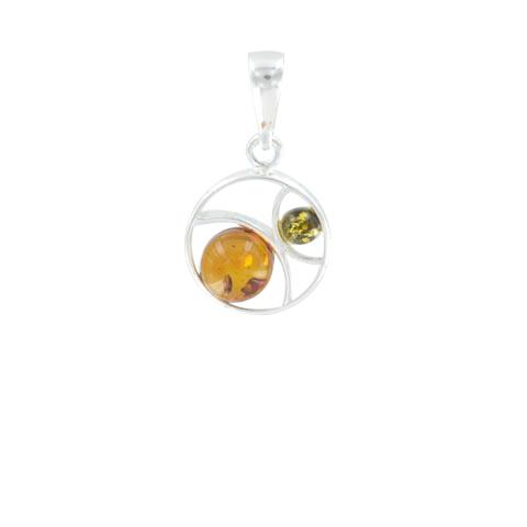 Lune d'ambre - Pendentif argent et 2 sphères ambre cognac/vert