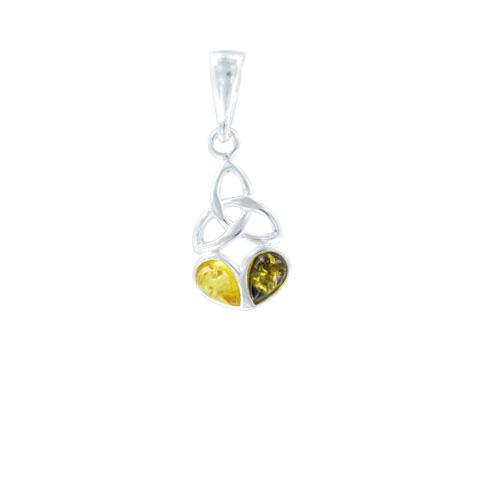 Ambre et Celtes - Pendentif monade argent et ambre jaune/verte