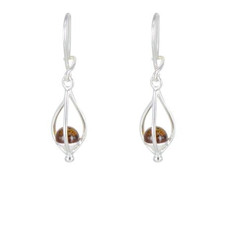 Lanterne - Boucles d`oreilles argent et ambre cognac