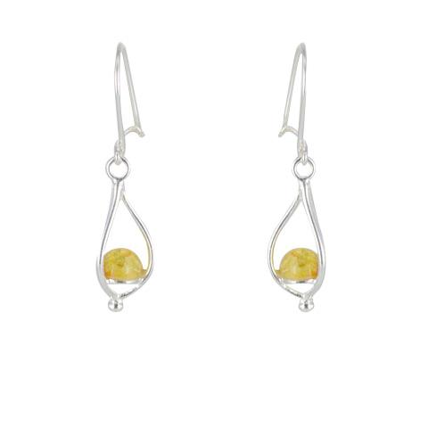 Lanterne - Boucles d`oreilles argent et ambre jaune