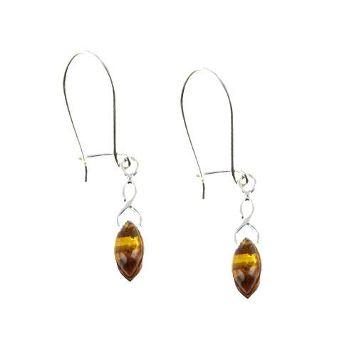 Ambre et Celtes - Boucles d'oreilles demi-monade argent et ambre