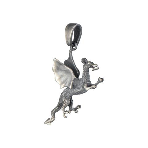 Dragon noir - pendentif argent 925ème