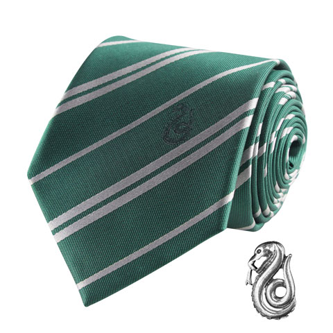 Cravate Deluxe Serpentard avec pin's - Harry Potter
