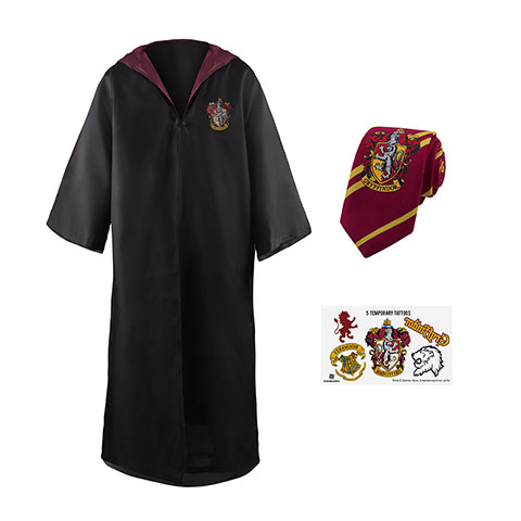 Pack déguisement Gryffondor : robe de sorcier + cravate + 5 tatouages - Harry Potter