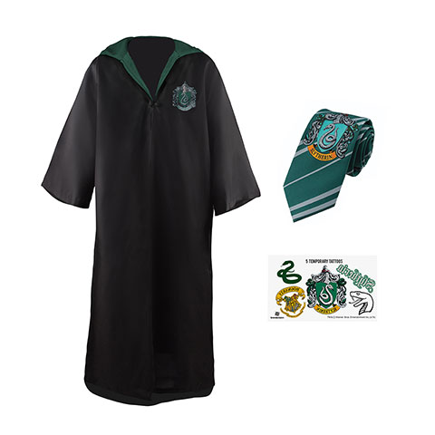 Pack déguisement Serpentard : robe de sorcier + cravate + 5 tatouages - Harry Potter