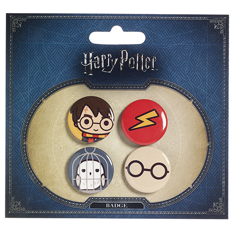 Ensemble 1 badges chibi Harry / Hedwige