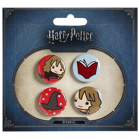 Ensemble 2 badges chibi Hermione/Choixpeau