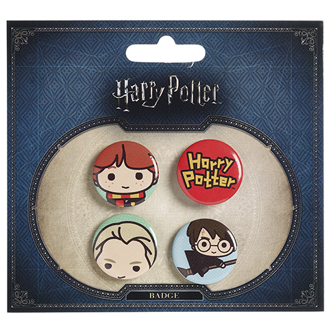 Ensemble 3 badges chibi Ron/Drago/Balai d'Harry