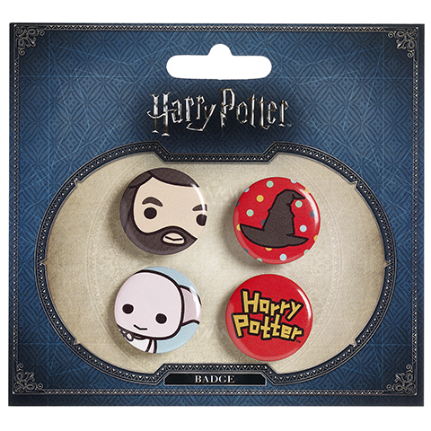 Ensemble 3 badges chibi Hagrid - Choixpeau - Dobby - Harry potter