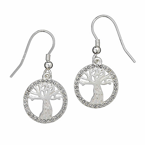 Boucles d'oreilles Saule cogneur avec cristaux de Swarovski