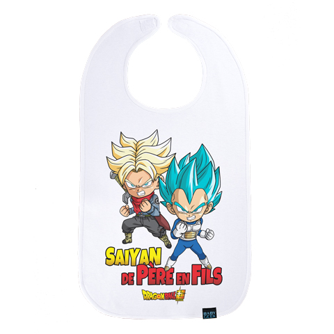 Saiyan de père en fils - Trunks et Vegeta - Dragon Ball Super - Maxi bavoir Bébé