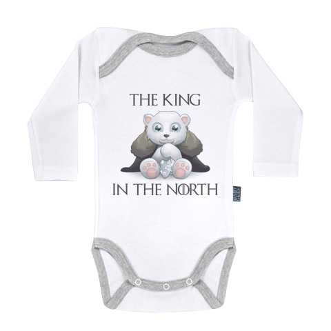 King in the north - Body Bébé manches longues - Coton - Blanc