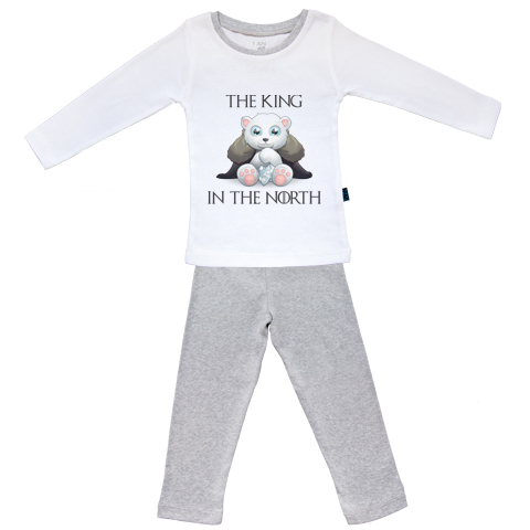 King in the north - Pyjama Bébé manches longues - Coton - Gris Chiné
