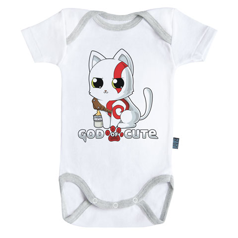 God of Cute - Body Bébé manches courtes - Coton - Blanc - Coutures grises