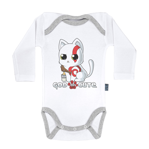 God of Cute - Body Bébé manches longues - Coton - Blanc - Coutures grises