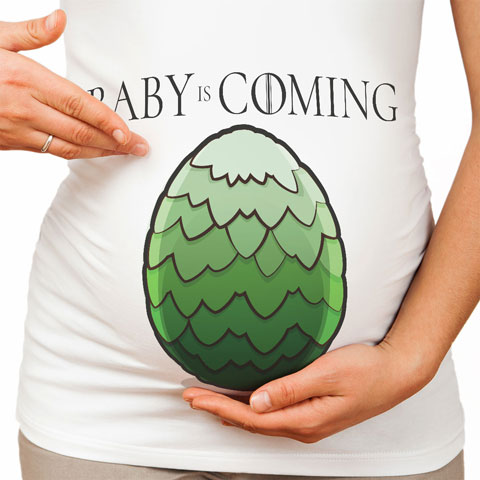 Baby is Coming -Vert - T-shirt de grossesse - Coton - Blanc