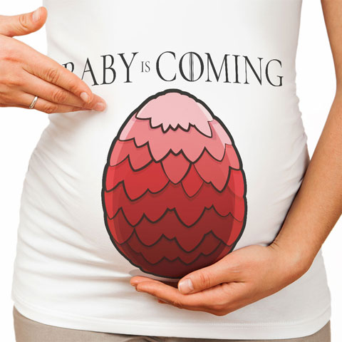Baby is Coming - Rouge - T-shirt de grossesse - Coton - Blanc