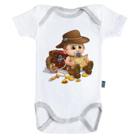 Un jour je serai un archéologue - Body Bébé manches courtes - Coton - Blanc - Coutures grises