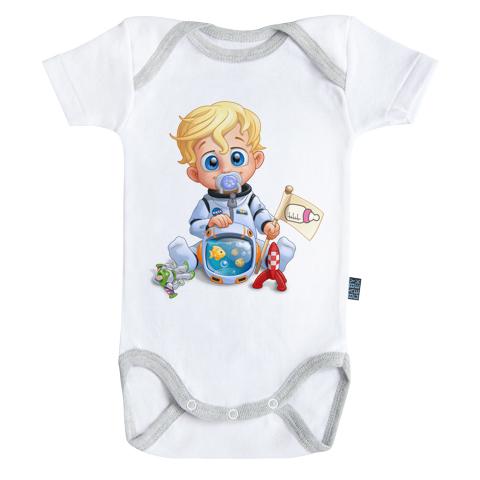 Un jour je serai un astronaute - Body Bébé manches courtes - Coton - Blanc - Coutures grises