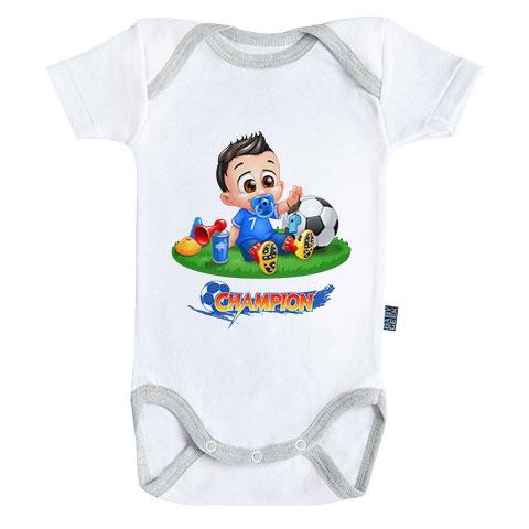 Un jour je serai un footballeur - Body Bébé manches courtes - Coton - Blanc - Coutures grises