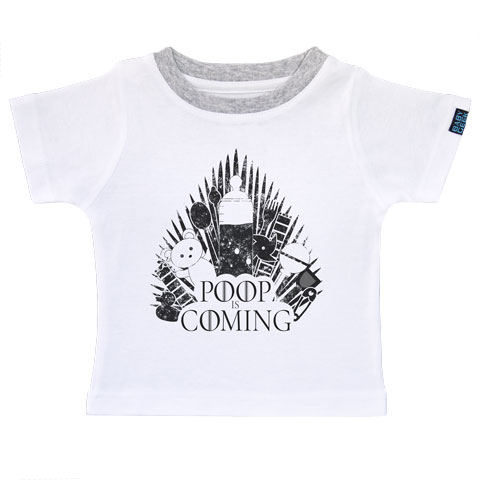Poop is coming - T-shirt Enfant manches courtes - Coton - Blanc