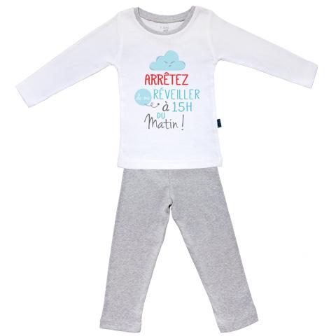 Arrêtez de me réveiller à 15h du matin - Pyjama Bébé manches longues - Coton - Gris Chiné