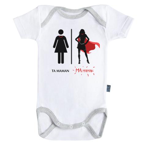Ma super maman - Ma super famille -  Body Bébé manches courtes - Coton - Blanc - Coutures grises