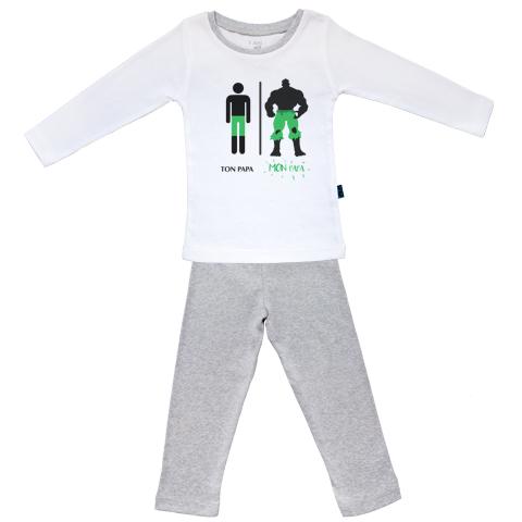 Ma super famille - Mon papa trop fort - Pyjama Bébé manches longues - Coton - Gris Chiné