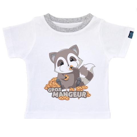 Raton laveur gourmand - T-shirt Enfant manches courtes - Coton - Blanc