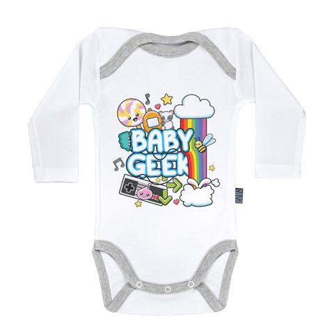 Baby Geek Kawaii - Body Bébé manches longues - Coton - Blanc