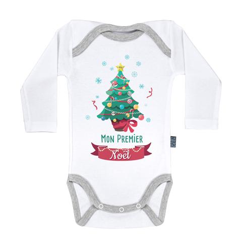 Mon premier Noël - Body Bébé manches longues - Coton - Blanc