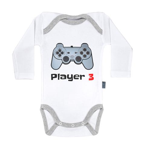 Player 3 - Body Bébé manches longues - Coton - Blanc - Coutures grises