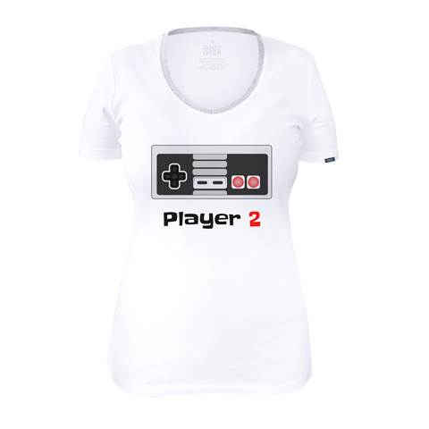 Player 2 retro - T-shirt Femme - Coton - Blanc