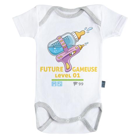 Future Gameuse - Body Bébé manches courtes - Coton - Blanc - Coutures grises