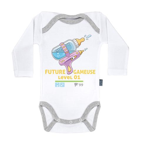 Future Gameuse - Body Bébé manches longues - Coton - Blanc