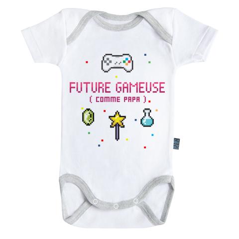 Future gameuse comme papa - Body Bébé manches courtes - Coton - Blanc - Coutures grises