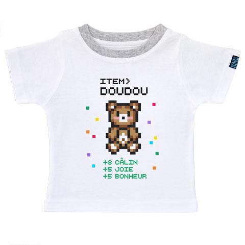 Item doudou pour bébé gamer - T-shirt Enfant manches courtes - Coton - Blanc