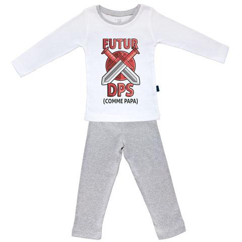 Futur DPS comme papa (version garçon) - Pyjama Bébé manches longues - Coton - Gris Chiné