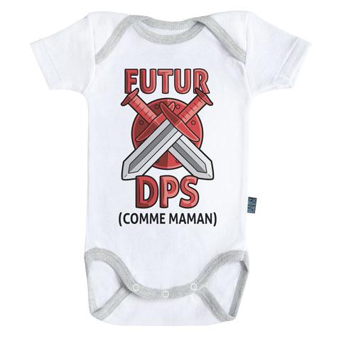 Futur DPS comme maman (version garçon) - Body Bébé manches courtes - Coton - Blanc - Coutures grises