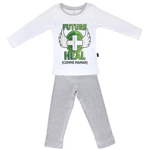 Future Heal comme maman (version fille) - Pyjama Bébé manches longues - Coton - Gris Chiné