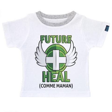 Future Heal comme maman (version fille) - T-shirt Enfant manches courtes - Coton - Blanc col gris