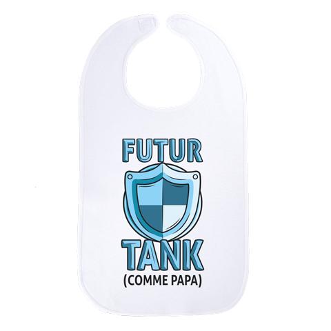 Futur tank comme papa (version garçon) - Maxi bavoir Bébé - Coton Blanc